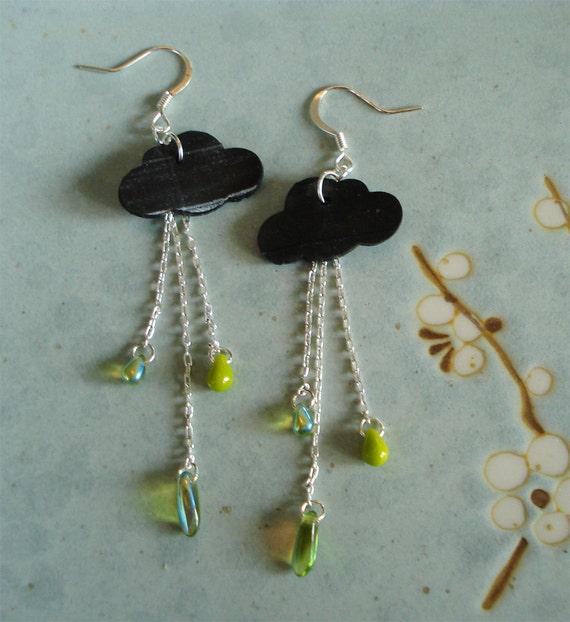 Rainy day earrings - recycled inner tube earrings