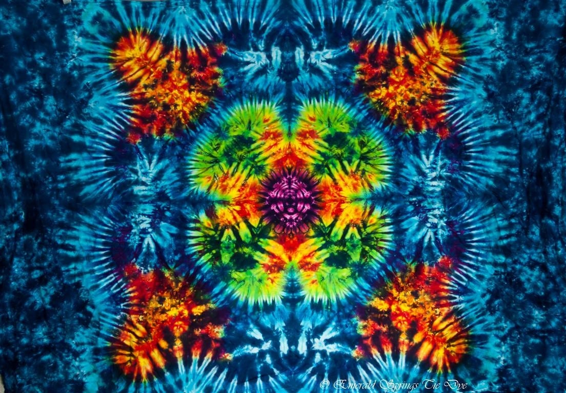 tie dye tapestry 58x40 inches made by by emeraldsprings on