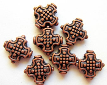 25  Antique copper beads bali style jewelry making boho chic 12mm 12mm AB241-hp-W3
