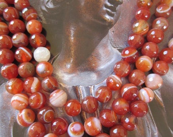 Red Agate beads banded Manchurian 8mm earth tone gemstone beads red orange jewelry supplies 15 inch strand G-N2