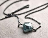 Moss Aquamarine Necklace, Aquamarine Jewelry March Birthstone Sea Blue Nugget Oxidized Sterling Silver Necklace Spring Fashion - Nixie