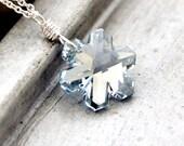 Snowflake Necklace, Swarovski Crystal Ice Blue Snow Bright Sterling Silver Necklace Winter Fashion - Blizzard