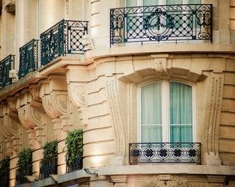 Paris Photograph, Apartment Building Photo Balcony Parisian Pastel Tones Neutral Colors Brown Beige Tan par59