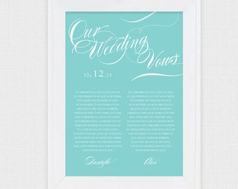 wedding vow art twirl - printable file - valentines day anniversary gift turquoise aqua customised personalised personalized