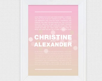 personalised wedding vow art romantic - diy printable 1st first anniversary gift paper wedding anniversary, valentines day gift, custom art