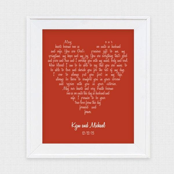 Wedding Vow Artwork: Wedding Vow Art Love Heart Printable File Lyrics