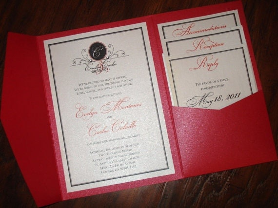 RESERVED for Asapfinn3 - Pocketfold Wedding Invitations