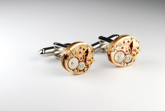 Steampunk Cufflinks // Genuine OMEGA - Rose Gold - Luxury Watch Movement Cuff Links -- Great for Wedding Gift - Fathers Day - Anniversary