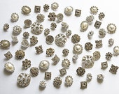 20 Assorted Rhinestone Button Brooch Embellishment Pearl Crystal Wedding Brooch Bouquet Cake Hair Comb Clip BT097