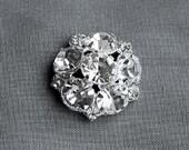 5 Rhinestone Buttons Round Circle Diamante Crystal Hair Flower Comb Clip Wedding Invitation Scrapbooking Ring Pillow BT018