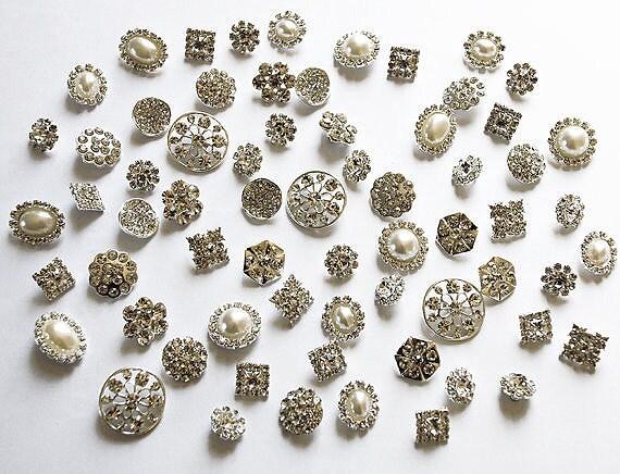 20 Assorted Rhinestone Button Brooch Embellishment Pearl Crystal Wedding Brooch Bouquet Cake Hair Comb Clip BT097