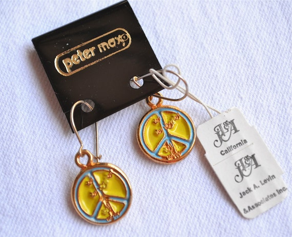 Authentic Vintage Peter Max Earrings - Yellow and Blue Peace Signs