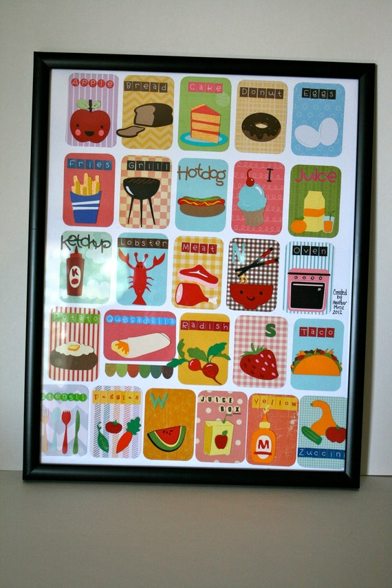 Food kitchen themed alphabet cards put together on an artists - Putting together stylish kitchen abcs ...