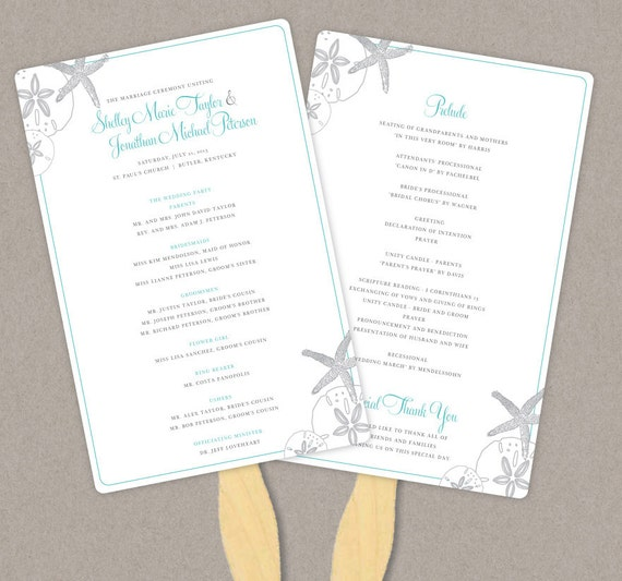 diy custom wedding program fan starfish and sand dollars customized
