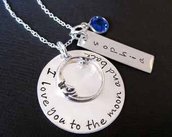 Hand stamped jewelry  Ultimate I Love You To the Moon and Back Personalized Sterling Silver Necklace with Birthstone