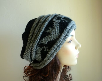 Hand knitted black slouch hat with gray bat pattern/tam/cloche/unisex hats