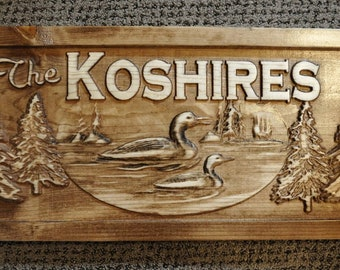 Personalized Family Last Name sign Carved Cabin Signs Decor Rustic Lake House Loon Trees Custom Wooden Wedding gift Plaque Camping Christmas