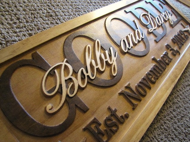 Personalized Sign Carved Custom Wood Last Name Couples Wedding