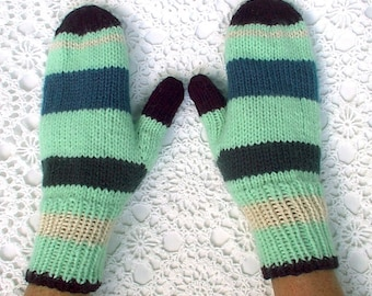 Mittens Green Black White Blue Hand Knit Striped Women Ladies Teens
