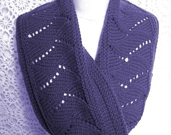 Scarf Cowl Blue Hand Knit Lace Eyelet Circle Infinity Women Ladies Teens