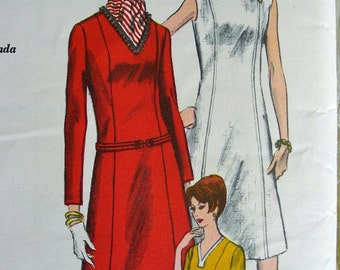 "Vintage 60's Vogue Pattern 6810 -  One Piece Dress with V Neckline  - Bust 34 - ""Easy to Make"""