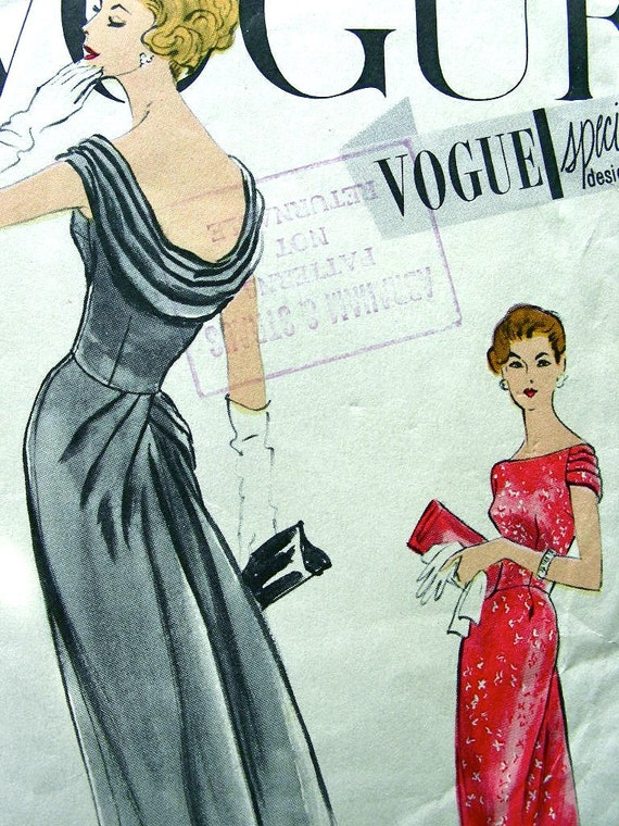 Vogue Special Design Pattern S-4826 - EXQUISITE  Draped Evening Dress with Label - Bust 36