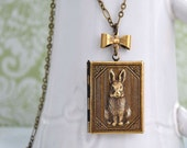 The tale of Peter Rabbit, bunny locket, rabbit necklace, the sitting rabbit, bow charm necklace, book locket, antiqued brass necklace