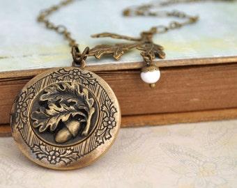 brass locket necklace - FIND UNDER The OAKTREE - antiqued brass acorn and oak tree leaf locket necklace