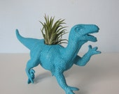 Upcycled Dinosaur Planter - Turquoise Blue Raptor with Tillandsia Air Plant