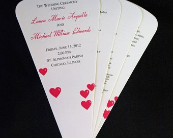 Wedding Fan Program, Petal Fan Program - Heart Petals