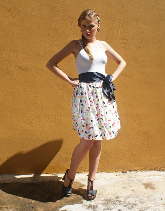 Floral Skirt with Side Bow FINAL SALE