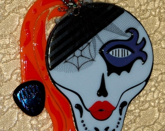 Lady Godiva - Day of the Dead Fused Glass Wall Art