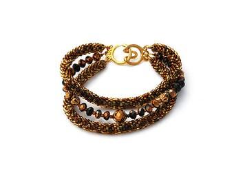 """Multistrand Beads Crochet Bracelet """"Brown Sugar"""""""