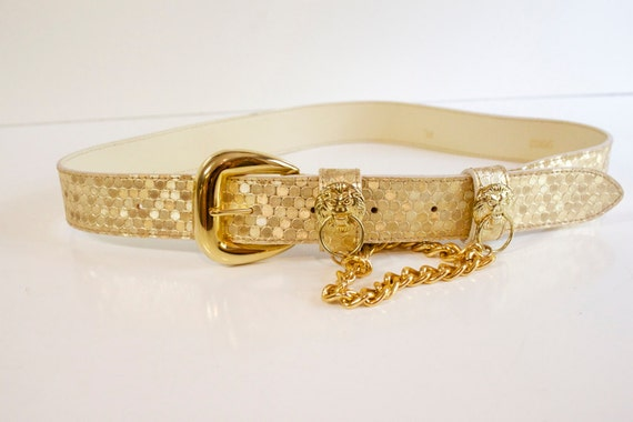 Vintage 1950s Anne Klein Gold Belt with decorative chain and lions