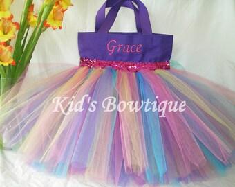 Rainbow Tutu with Pink Sequins Monogrammed  Tutu Tote Bag - Personalized Tutu Bag
