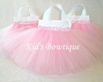 Set of 3 Sweet Baby Pink TUTU Sequins Party Favor Tutu Bags