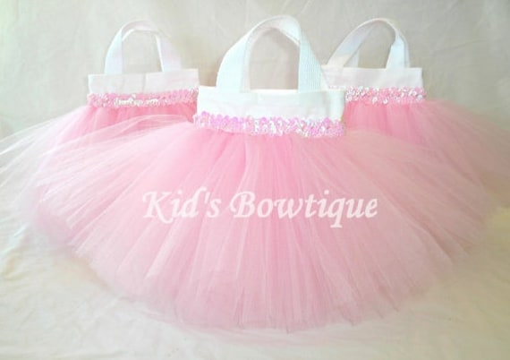 Set of 6 Sweet Baby Pink TUTU Sequins Party Favor Tutu Bags - Baby Shower Gift Bags
