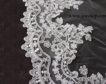 Catheral Length Ivory Lace Edge Mantilla Veil | Lace Wedding Veil | Lace Bridal Veil | Vintage Wedding Veil | Cathedral Lace Veil | VG1003-I
