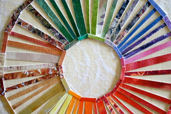 Color Circle Collage- Wood Block- Original Abstract- Ready to Hang- Rainbow
