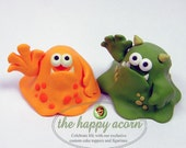 Monster Wedding Cake Topper Monsters - READY TO SHIP - by The Happy Acorn