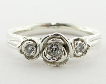 Three Roses, Silver ring with diamond, Made to Order