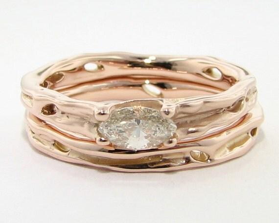 Diamond and Rose Gold Wedding Set, Melted