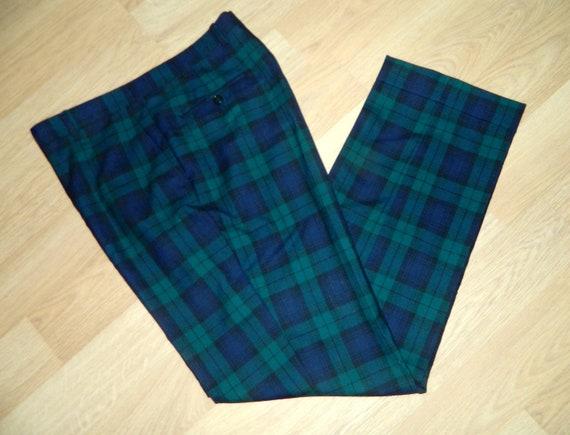 green and blue plaid pants - Pi Pants