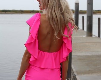 NEON PINK Low Open Back Ruffle Mini Dress By designer Justyna G