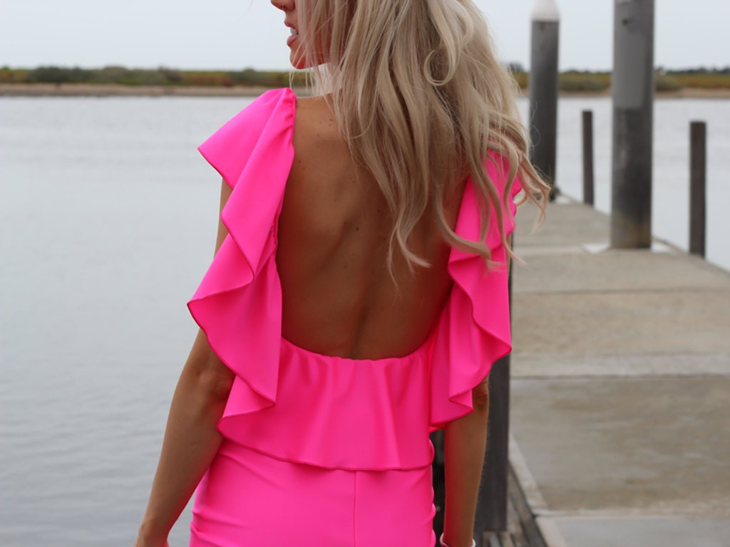 NEON PINK Low Open Back Ruffle Mini Dress By designer Justyna