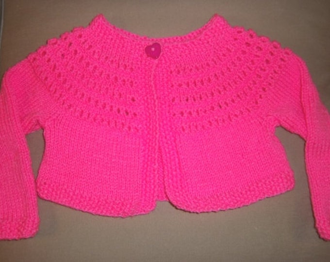 Cardigan - Hand Knitted Cardigan / Bolero Jacket for Girl 6 yrs old - Color Bright Pink