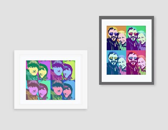 pop art portrait - Andy Warhol style 8x10 or 11x14 print - wedding ...