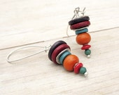 Stacked Cone Dangle Earrings, Orange Burgundy Turquoise Purple Ceramic Discs, Sterling Silver Long Earwires