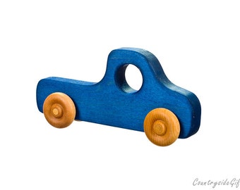 Wooden Toy Truck - Natural & Organic Wooden Toy Truck for Toddlers, Kids, Children, Wooden Toy Pickup Truck, Toy Truck, Maple Wood, Blue