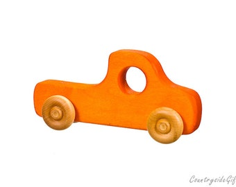 Wooden Toy Truck - Natural & Organic Wooden Toy Truck for Toddlers, Kids, Children, Wooden Toy Pickup Truck, Toy Truck, Maple Wood, Orange